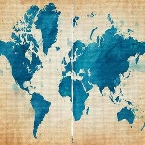 Curtains World Map Smudge Print Backdrop 39895